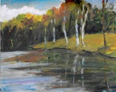 Original acrylic impressionistic landscape painting Birch Trees Reflected in river 8x10
