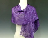 """Vibrant purple hand dyed devore satin shawl and scarf with spot burnout pattern 15"""" x 72"""""""