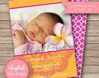 Medallion Birth Announcement, Medallion Baby Announcement, Printable Medallion Baby Photo Announcement - Medallion in Orange, Pink, Yellow
