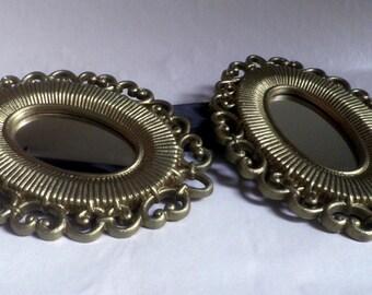 set of 2 Oval framed MIRROR, gold