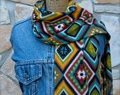 Navajo Inspired Fleece Scarf,  Southwestern Ladies Fleece Scarf, Diamond Pattern Fleece Scarf