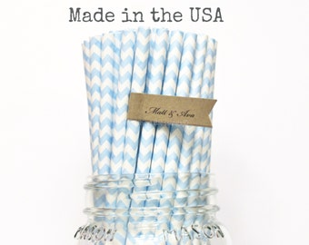Light blue Paper Straws, 100 Baby Blue Paper Straws, Chevron Straws, Baby Shower Party Supplies, Blue Wedding, Birthday Party, Made in USA