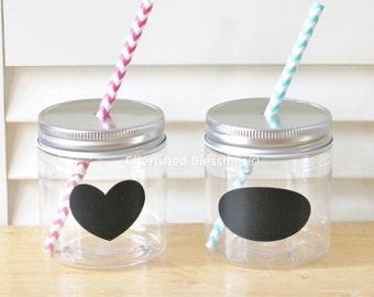 Plastic Mason Jars, Plastic Mason Jar Cups, Kids Plastic Mason Jars, 8oz, Set of 10, Table Setting Weddin Rustic Baby Shower Party Supplies