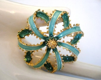 Vintage Signed ART Enamel Brooch - Enamel Ribbon Bow Brooch