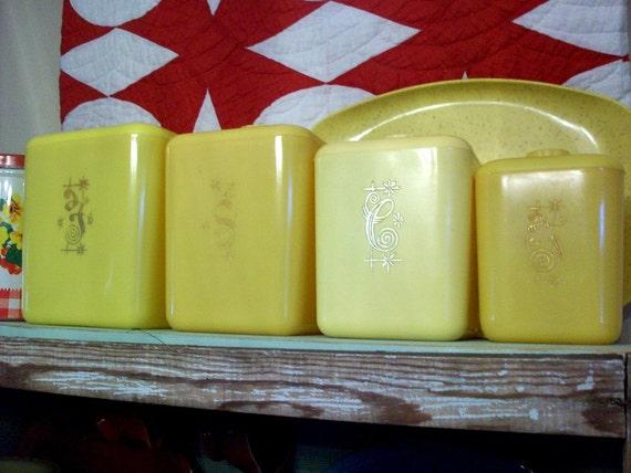 vintage yellow plastic kitchen canister set of 4 retro kitchen