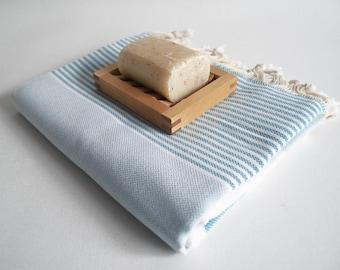 Shipping with FedEx - Turkish BATH Towel Marine Style Peshtemal - Natural Cotton - Blue - White