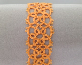 "Handmade, shuttle tatted lace bracelet, ""Flower Lady"", in autumn orange"