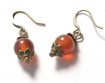 Translucent Red Agate Gemstones, Antiqued Brass Dangle Earrings