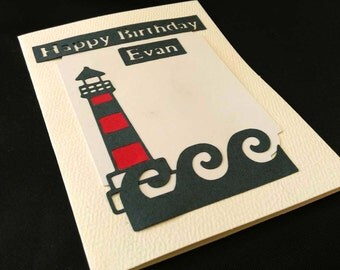 Handmade Custom Name Birthday Card, Blank Inside, Nautical, Sailing, Sailboat on Waves on the Sea, Ocean Blue & Red