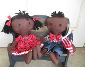 Primitive Black Americana Couple RAggedy Ann and Andy