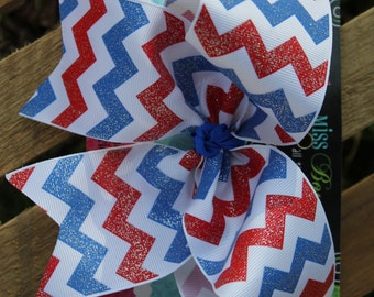 Red, White, and Blue GLITTER Chevron Small Cheer Bow, Red, white blue Cheer bow, Fourth of July bow, Patriotic bow, Red, White, and blue bow