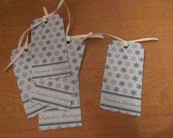 Blue Snowflake Season's Greetings Gift Tags (Set of 5) -- CLEARANCE
