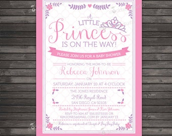Princess Baby Shower Invitation Printable - Little Princess Baby Shower Invite Printable - Royal Baby Girl Invitation - Pink Lavender Purple