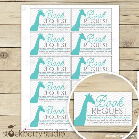 baby shower book request cards instant download gray aqua blue baby