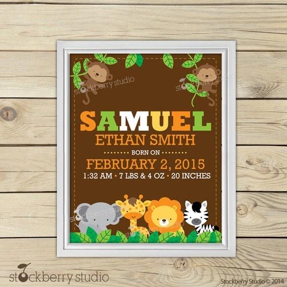 Jungle Nursery Art - Personalized Baby Wall Art - Safari Nursery Art ...