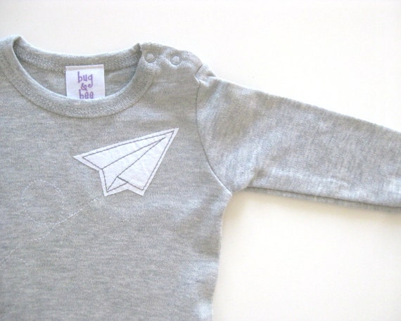 Paper Airplane Grey Onesie- Short or Long sleeves