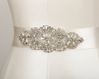 Victoria Crystal and Pearl Beaded Bridal Belt or Headband