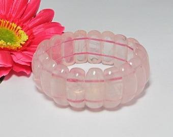 A+ natural rose Quartz stretchy  Bracelet