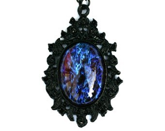 Firey Blue Dragon Breath Opal Necklace