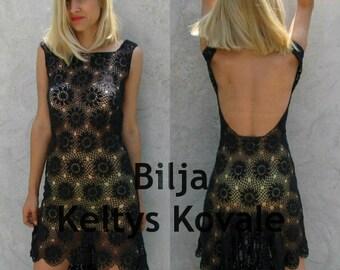 Open Back Sheer Crochet Dress - Black