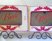 Wedding Signage Bride Groom Shabby Chic Red White Gold Vintage Antiqued Mirror Set Wedding Decor Event Planner Wedding