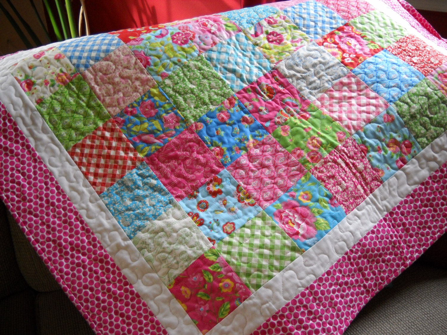 Patchwork Crib Quilt Baby Girl Quilt Gingham and Polka Dot | 1500 x 1125 jpeg 443kB