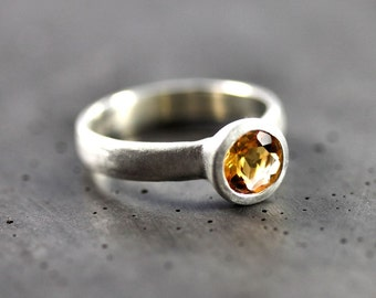 Yellow Citrine Ring, Faceted Gemstone November Birthstone Ring Recycled Sterling Silver Sunshine Yellow  - Ready to Ship in US Size 6