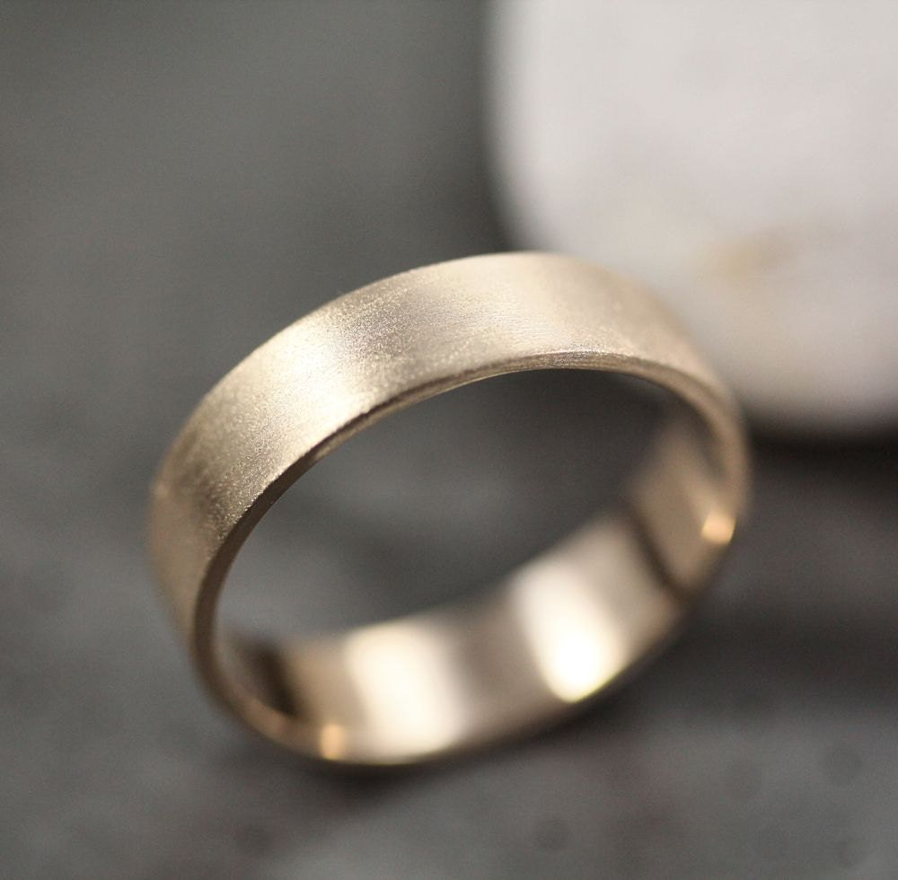 men 39 s gold wedding band unisex 5mm wide brushed flat 14k