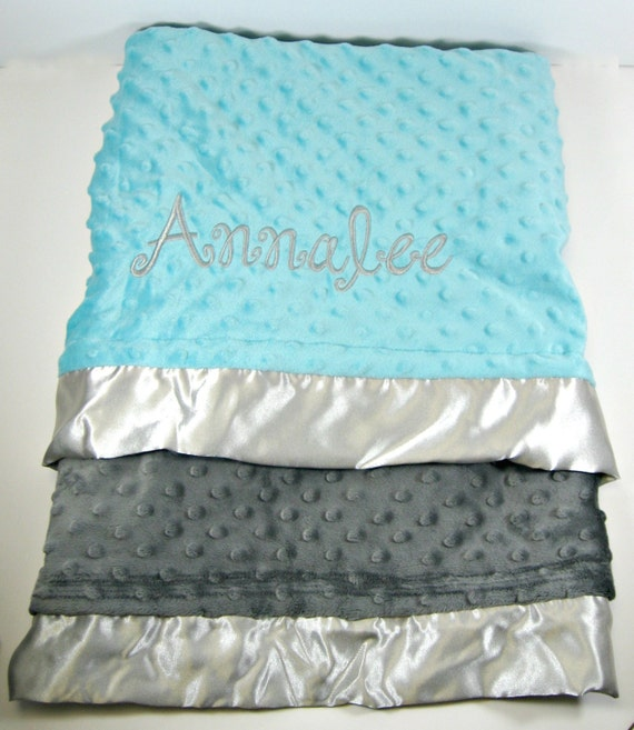 Baby Blanket in Grey and Turquoise with Satin Ruffle