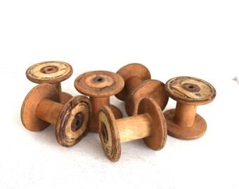 Six Vintage Hermes - 6 Textile Bobbins - Wood Spools - Primitive