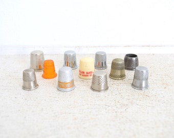 11 Vintage Thimbles - Advertising Thimble - Sewing Collection