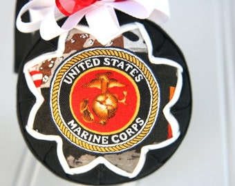 Military Quilted Christmas Ornament Ball - Marines
