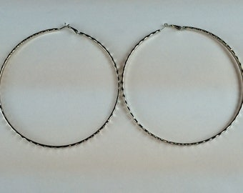 Silver 4 1/2 inch Pyramid Cut Hoop Earrings  Buy 2 Get 1 Free Mix or Match