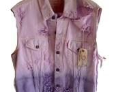 SALE ombrre purple destroyed levis cut offs vintage denim jacket vest size L only 39.99