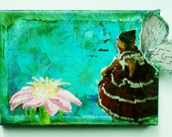 Fairy Art - Mixed Media Collage Painting on Canvas - Garden Wall Art - Blue and Green Fairy Painting - Wall Decor