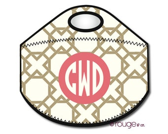 LATTICE REVERSE monogrammed lunch tote - with customizable pattern and monogram