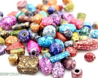 Painted Glass Beads, Assorted Shape and Color Glass Beads, 50pc