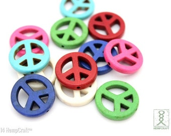 Peace Sign Beads Assorted Color Dyed Stone - 12pcs - 20mm