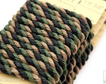 Camouflage Hemp Rope, 6mm Thick Twisted Eco Friendly Colored Hemp Rope