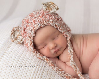 Newborn hat | crocheted baby hat | Teddy Bear Bonnet Hat in homespun Marble | crochet hat  - soft cuddly warm baby gift or photo prop