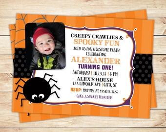 Halloween First Birthday Party Printable Photo Invitation -- Spider Invitation, Costume Party -- Any Color