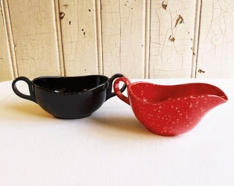 Vintage Black and Red Speckled Melmac Creamer and Sugar Bowl - Bold Colors - Mid-Century 1950s