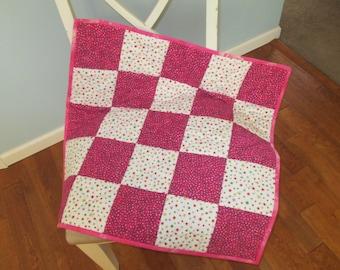 Pink White Dots Stars Flannel Crib Quilt