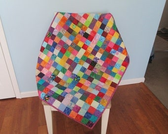 Colorful Small Squares Baby Quilt