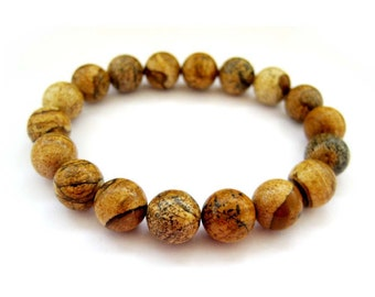 10mm Picture Stone Prayer Beads Wrist Mala Bracelet  T2736