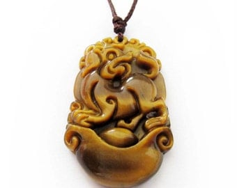 The 12 Chinese Zoidac Tiger Eye Gem Lucky Dog Talisman Pendant 34mm*21mm  T3012-11