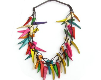 Women Ladies 3Strands Colorful Coconut Shell Beads Necklace  T3194