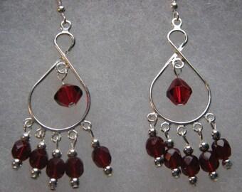 Ruby Red Chandelier Earrings