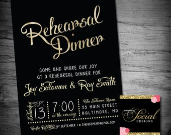 Gold Foil Rehearsal Dinner Party Invitation Printable