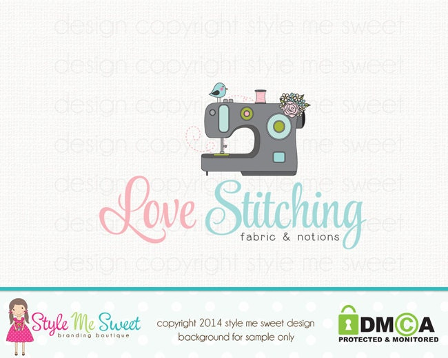 sewing machine logo sewing logo applique by stylemesweetdesign. Black Bedroom Furniture Sets. Home Design Ideas